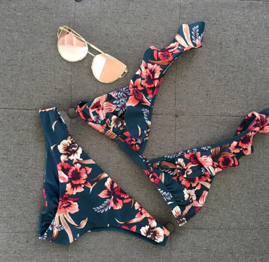 Pink on Navy Ruffle Top Cheeky Bathing Suit