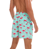 Flamingos on Green Board Shorts