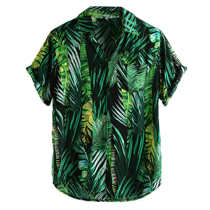 Green Palm Leaves Casual Button Up Shirt