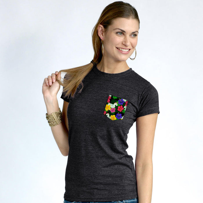 Inflatable Unicorn Ladies Pocket T-Shirt in Charcoal Gray