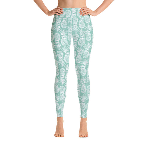 Mint Green Pineapple High Waist Yoga Leggings W/ Inside Pocket