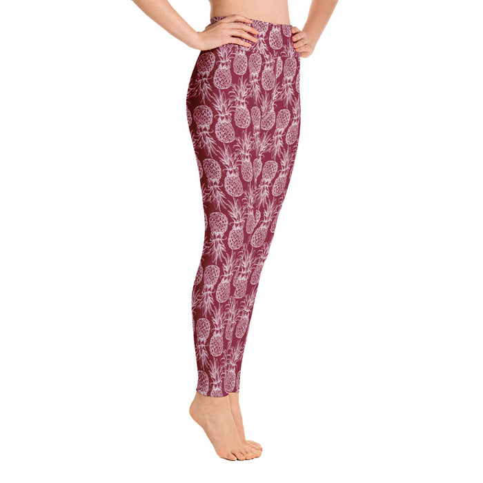 Berry Red Pineapple Leggings