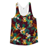 Tropical Leaves N Pineapples on Maroon Ladies Racerback Tank