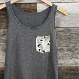 Pineapples N Triangles Heather Triblend Pocket Tank