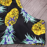 Pineapples on Black High Neck Bathing Suit