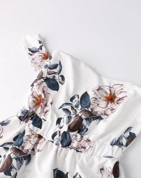White Tropical Flowers Off the Shoulder Boho Dress