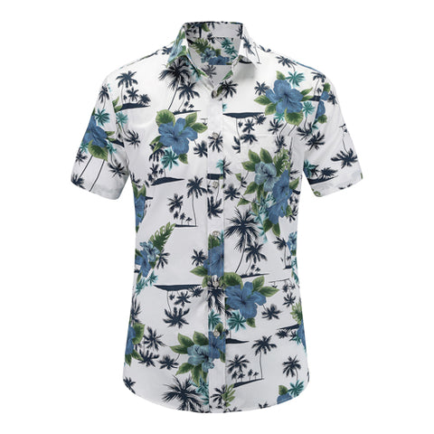Blue Flowers N' Palms Tropical Button Up
