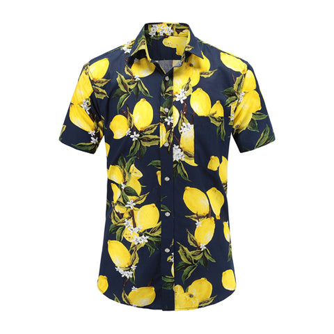 Lemony Fresh On Navy Button Up Shirt