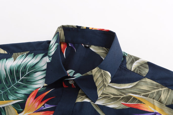 Bird of Paradise on Navy Button Up Shirt