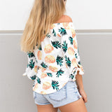 White Pineapple Ladies Off the Shoulder Top