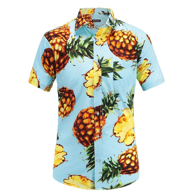 Pineapples on Blue Button Up