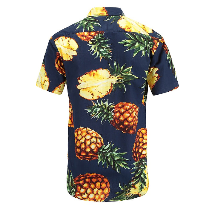 Pineapples on Navy Button Up