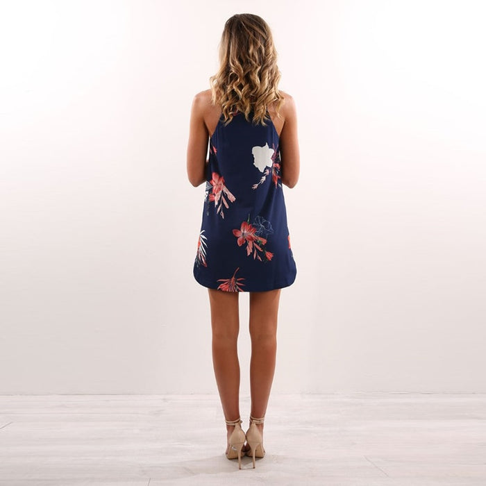 Navy Floral Boho Mini Dress