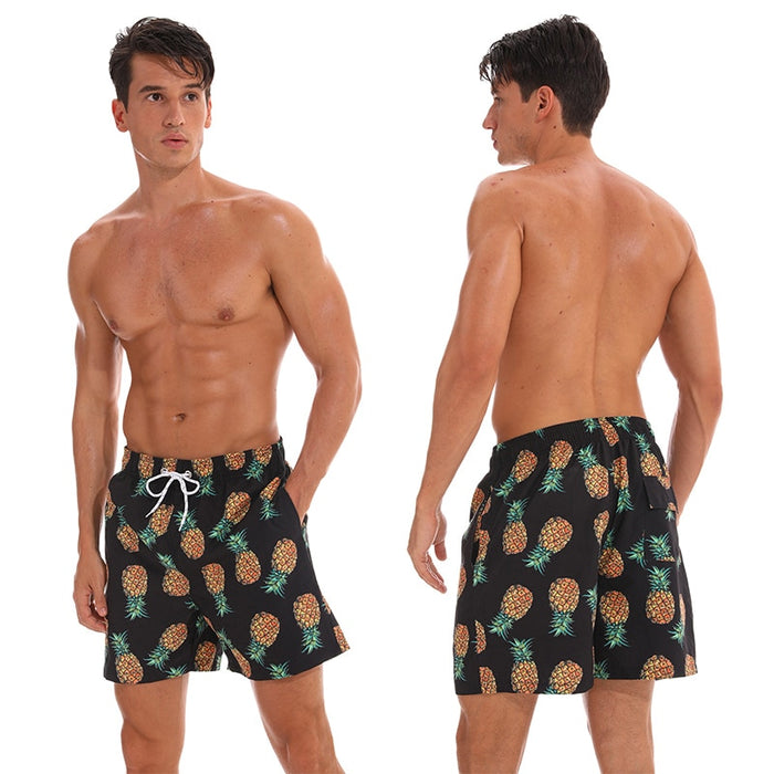 Pineapples On Black Board Shorts