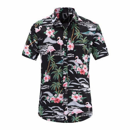 Flamingos N Waves Tropical Button Up