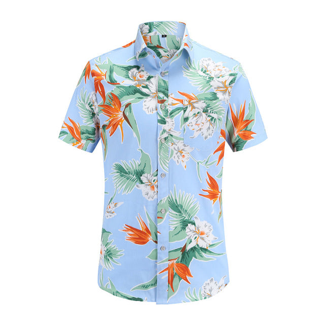 Bird of Paradise on Blue Button Up Shirt