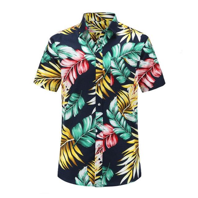 Colorful Palms on Navy Button Up Shirt