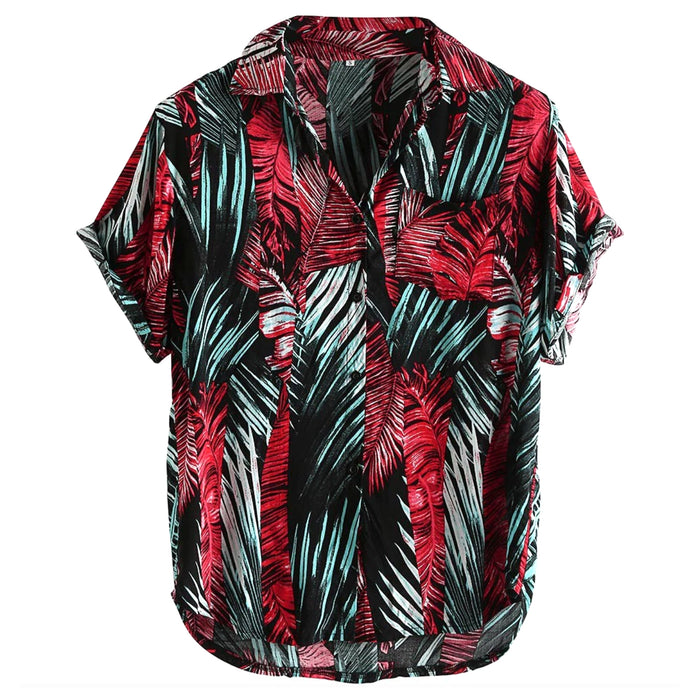 Red & Teal Palm Leaves Casual Button Up Shirt
