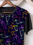 Neon Tropical Drinks Panel T-Shirt