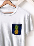 Ladies Pineapple on Blue N Black Pocket T-Shirt