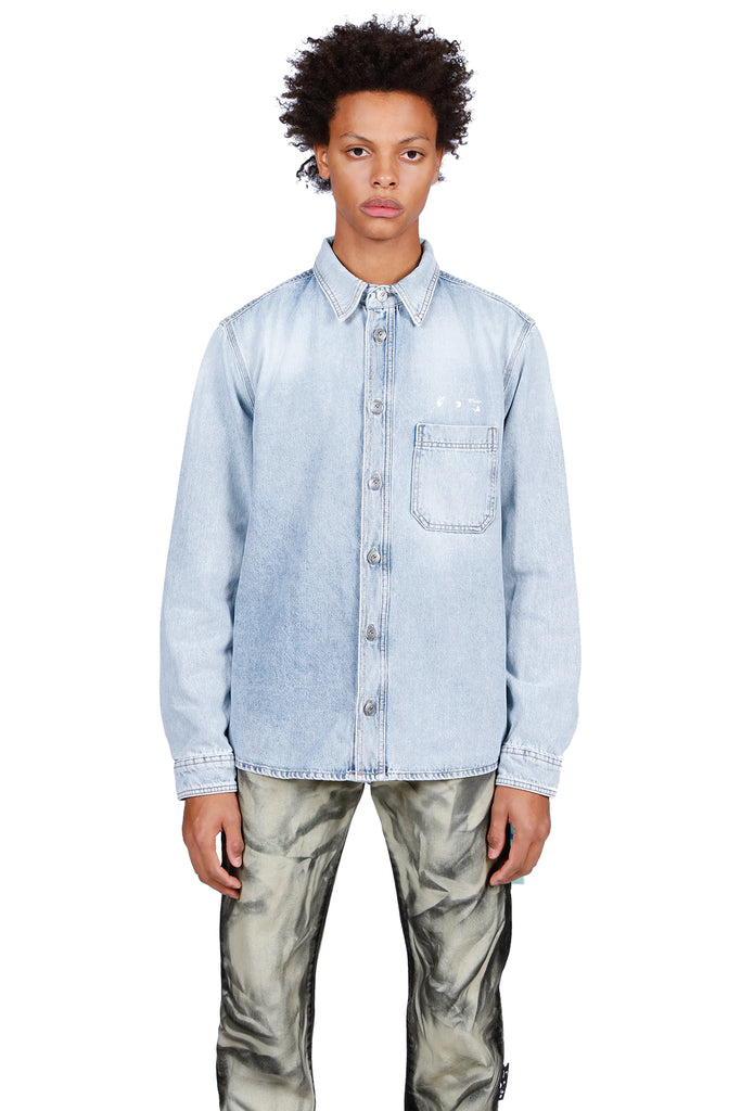 OW Logo Denim Shirt - Bleach/White