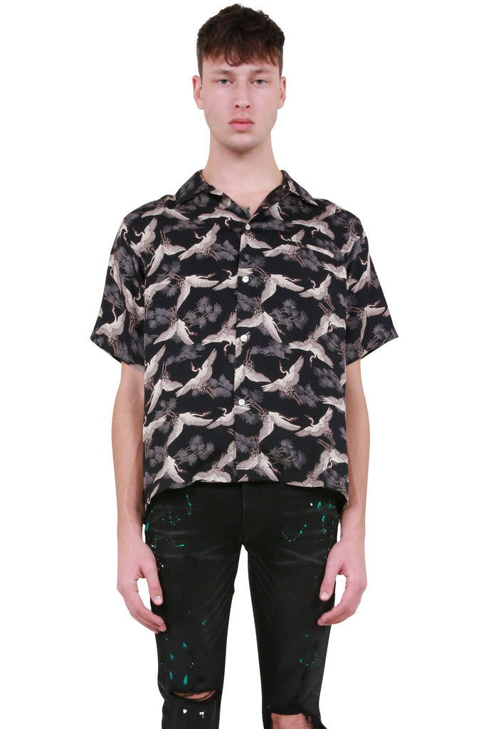 AMIRI: Cranes Short Sleeve Shirt - Tar | LESSONS
