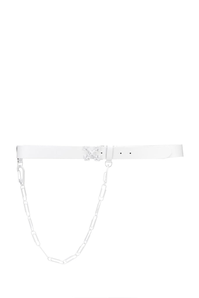 OFF-WHITE: Leather Belt with Paperclip Chain - White | LESSONS