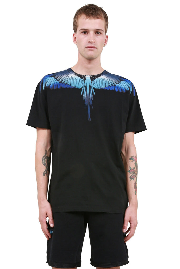 MARCELO BURLON: Blue Wings T-Shirt - Black | LESSONS