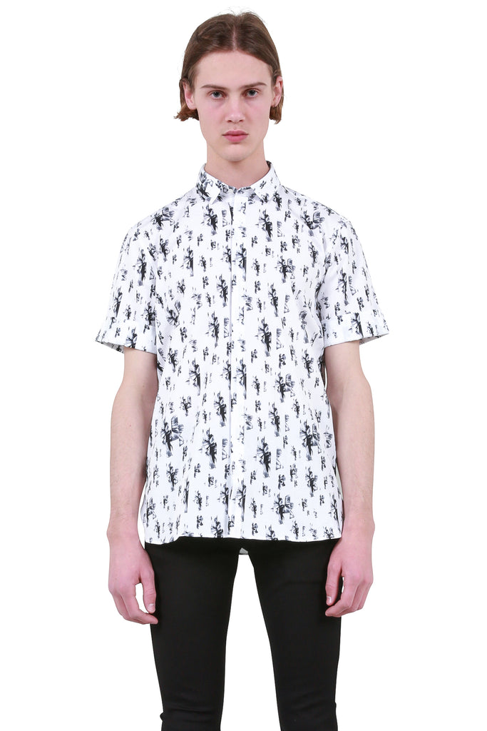 e4093bd71e15 NEIL BARRETT: Floral Stripe Shirt - Black/White | LESSONS