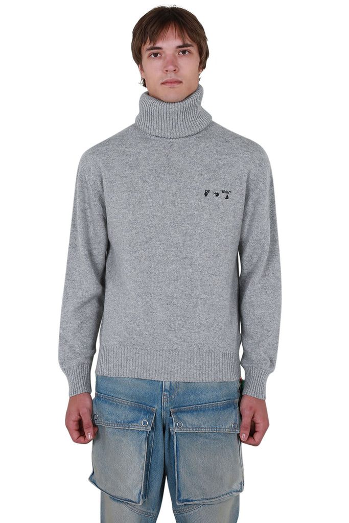 OW Logo Cashmere Turtleneck - Grey/Black