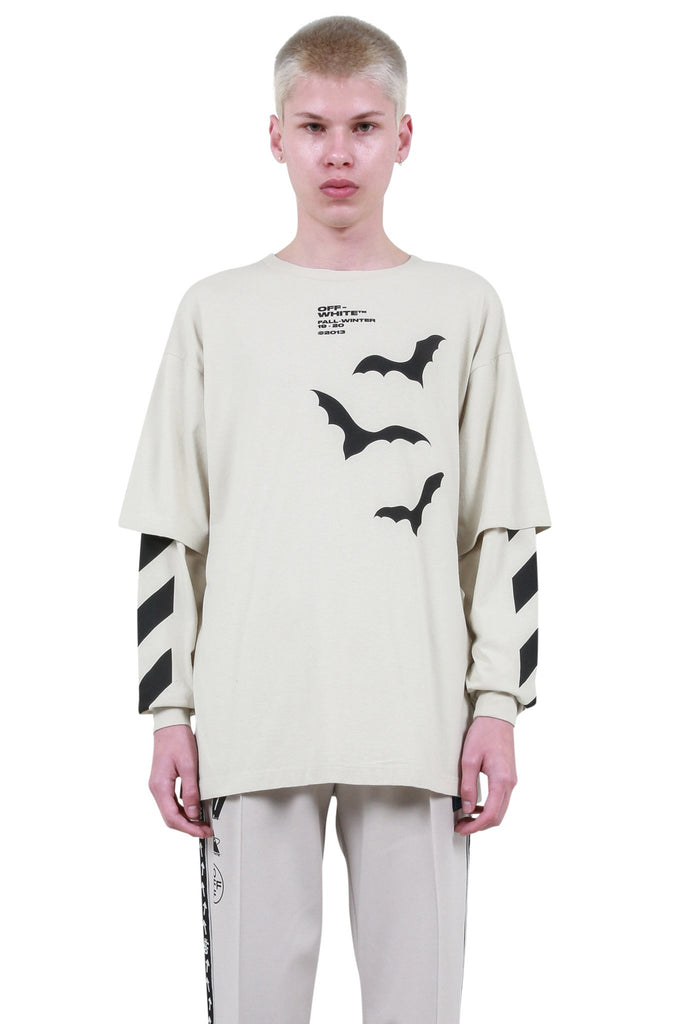 OFF-WHITE: Diagonal Bats Double Sleeve T-Shirt - Beige | LESSONS