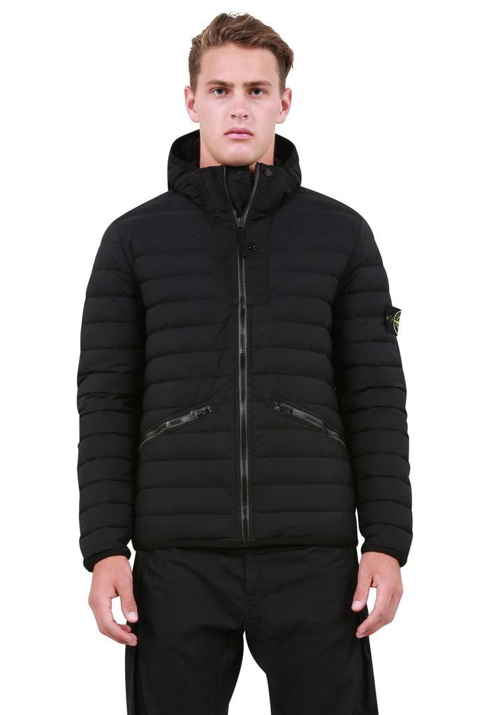 Woven Down Jacket  - Black