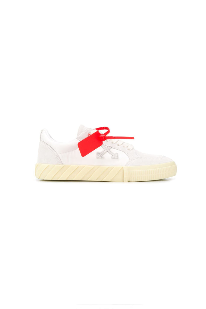 OFF-WHITE: Low Vulcanized Sneaker - White/Pale Blue | LESSONS