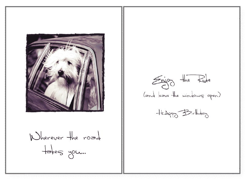 Wherever The Road Birthday Card