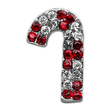Jeweled Red Candy Cane Slider Charm
