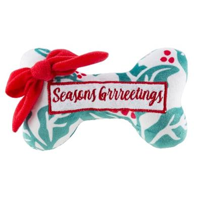 Holly Print Bone - Seasons Grrreetings