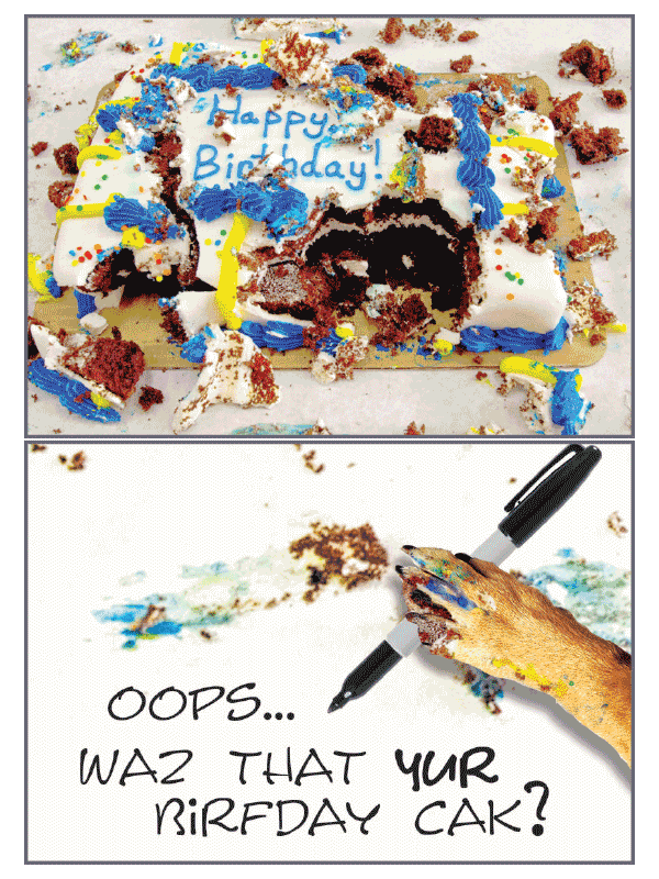 Messy Cake Birthday Card