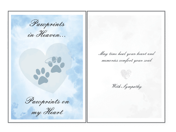 Paw Prints In Heaven Sympathy Card