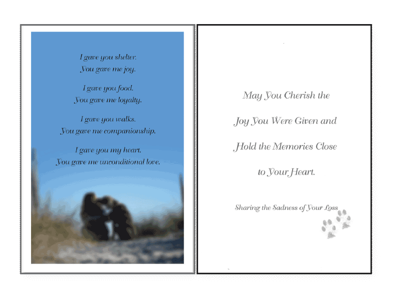 I Gave, You Gave Sympathy Card