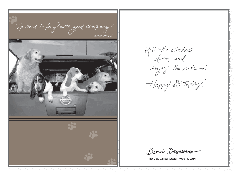 No Road Is Long Birthday Card Rocky Maggies Pet Boutique And Salon
