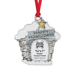 Pewter Christmas Dog Ornament - Happy Howlidays/Picture Frame