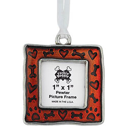 Pewter Christmas Dog Ornament - Bone/Heart/Paw Picture Frame
