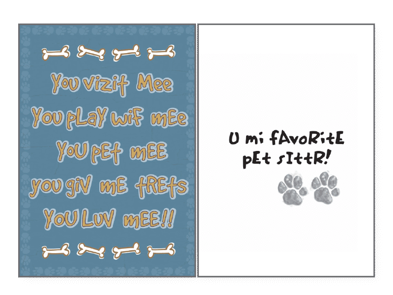 Mi Favorite Pet Sitting Card
