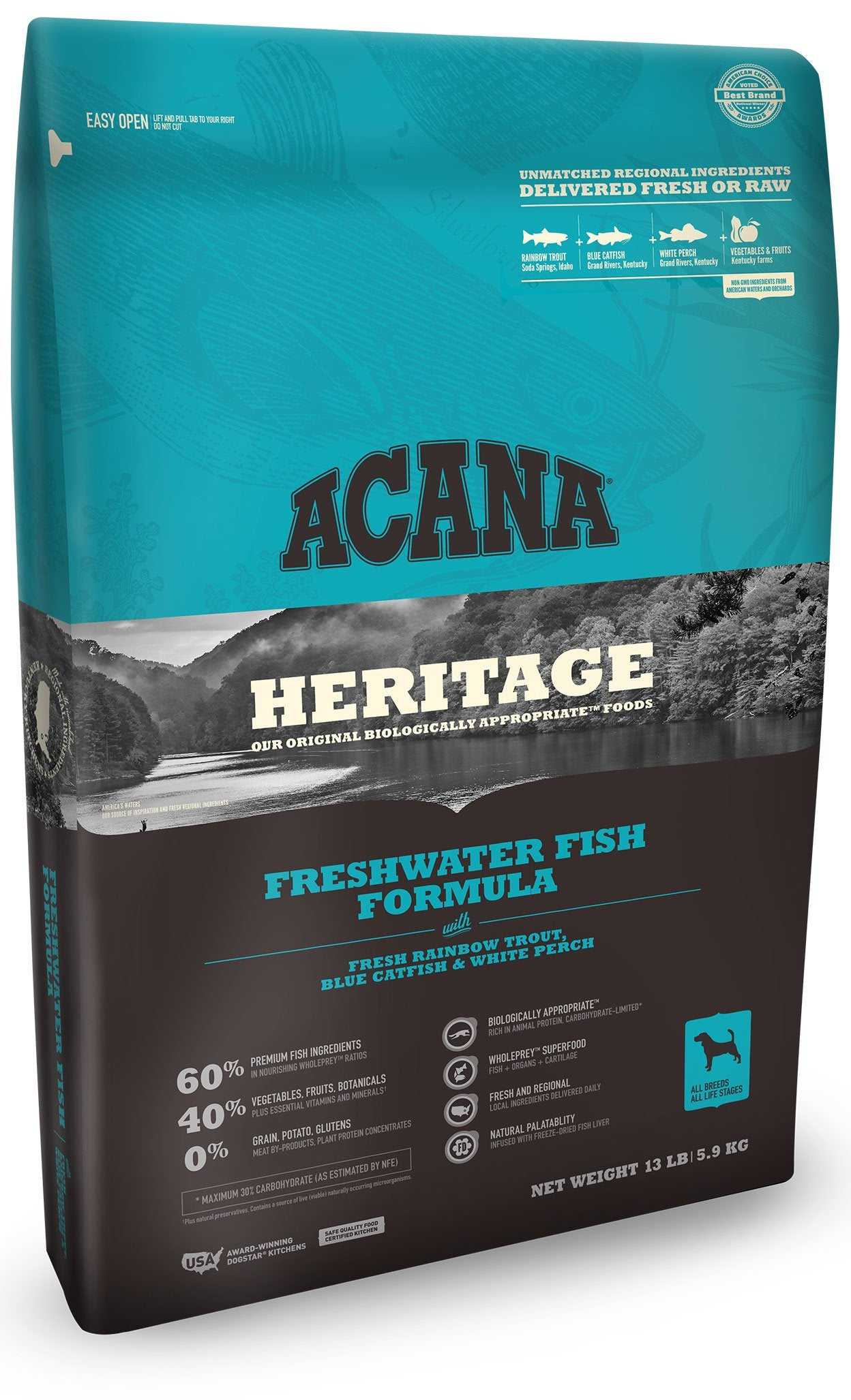 Acana Heritage Freshwater Fish Dog Food - Rocky & Maggie's Pet Boutique and Salon