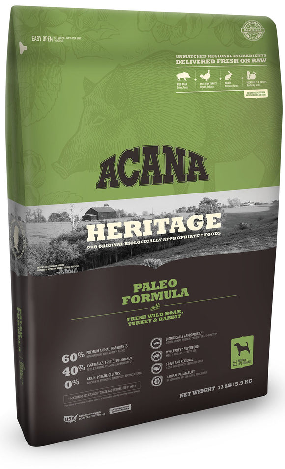 Acana Heritage Paleo Dog Food - Rocky & Maggie's Pet Boutique and Salon