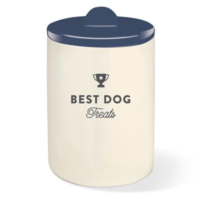 Best Dog Navy Treat Jar and Half Moon Lid - Rocky & Maggie's Pet Boutique and Salon