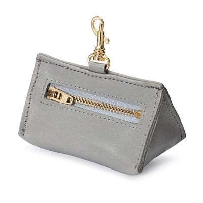 Grey Leather Prism Baggie Pouch