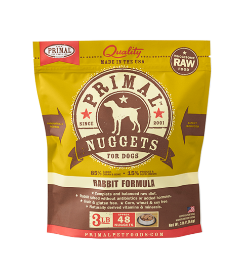 Rabbit Nuggets Grain-Free Frozen Raw Dog Food, 3#