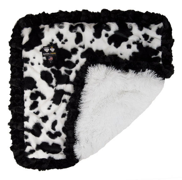 Blanket - Spotted Pony and Snow White with Serenity Black Ruffle
