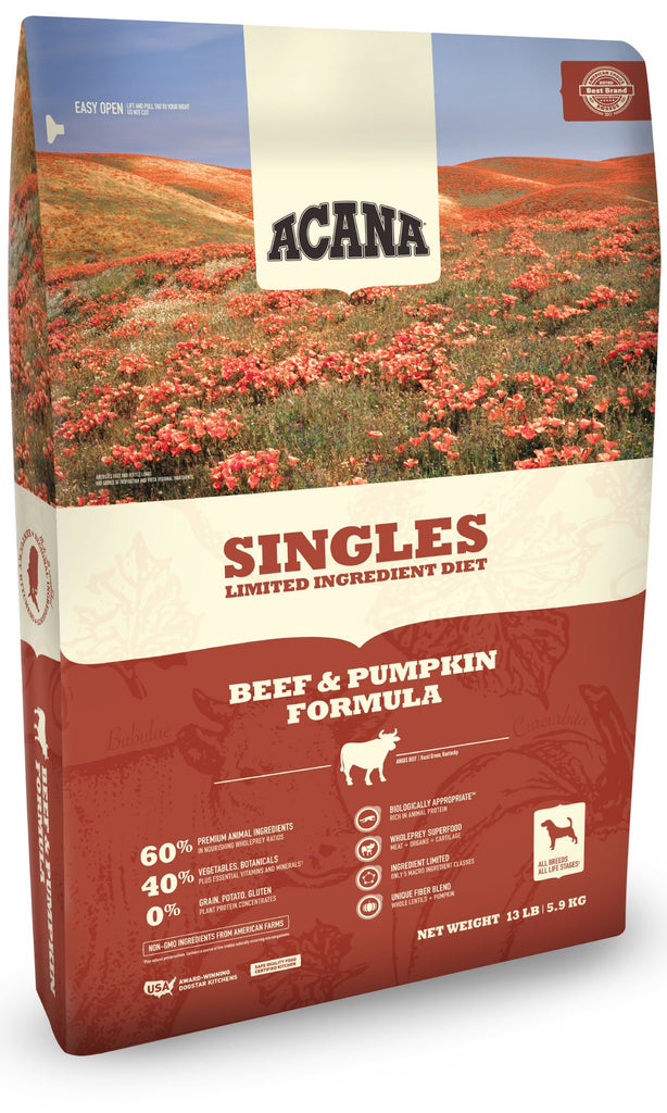 Acana Singles Beef & Pumpkin Dog Food - Rocky & Maggie's Pet Boutique and Salon
